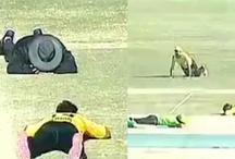 ये क्या एक टी-20 मैच के दौरान जमीन पर लेट गए सभी क्रिकेटर और अंपायर, देखें  VIDEO