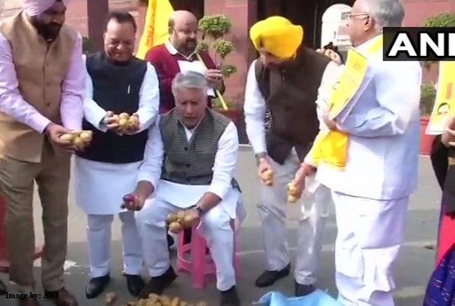 किसानों की समस्याएं के लिए कांग्रेस सांसदों ने संसद परिसर में आलू बेचकर किया विरोध प्रदर्शन